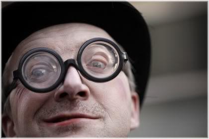 weird man wearing glasses