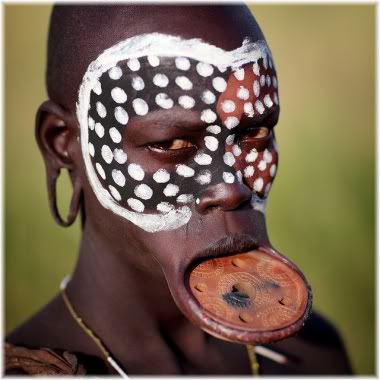 African tribesman lip ornament