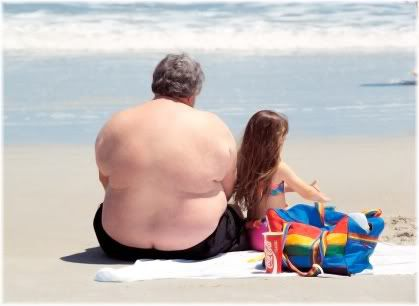 obese man at beach