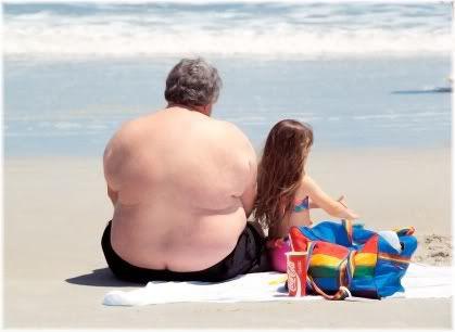 obese man at beach