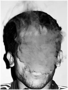 puff of smoke in face