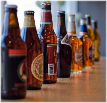 bottles of beer in a row