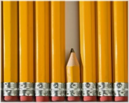 short pencil amongst long pencils