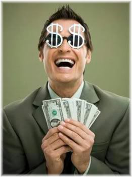 man holding money happy