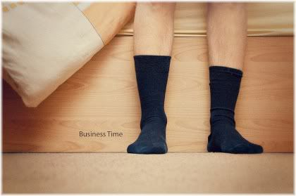 feet out of bed with socks on