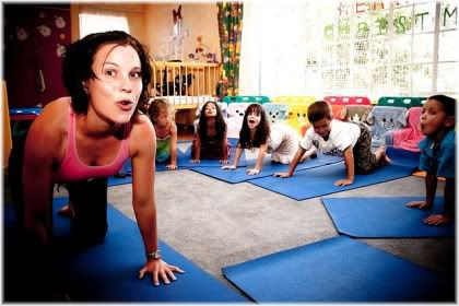 woman doing exercise with children