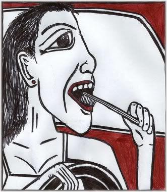 woman brushing teeth in car