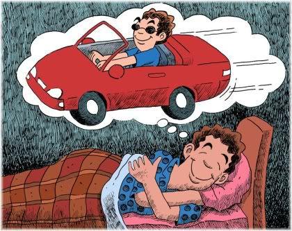 man dreaming of car