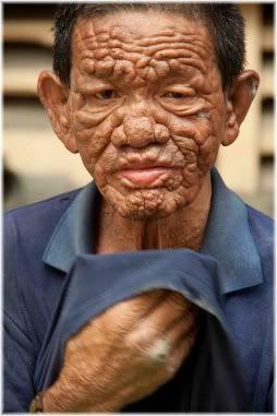 man wrinkled face