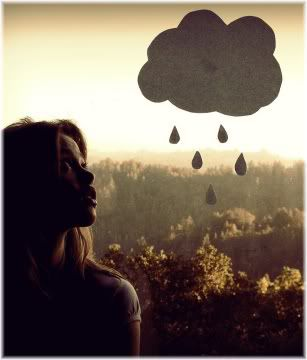 woman looking at rain cloud