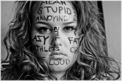 unhappy girl with insults written on face
