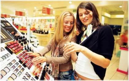girls shopping for cosmetics