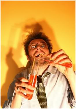 crazy man with test tubes