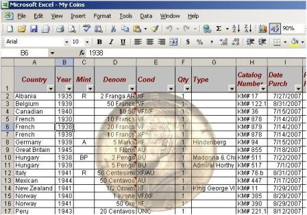 coin inventory excel