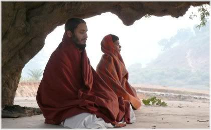 Indian holy man meditating