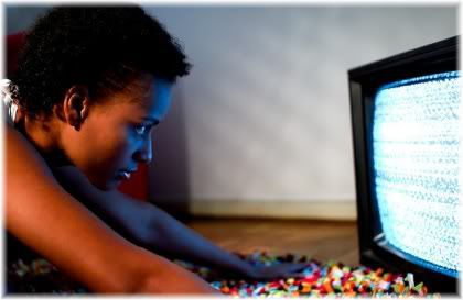 woman close to tv