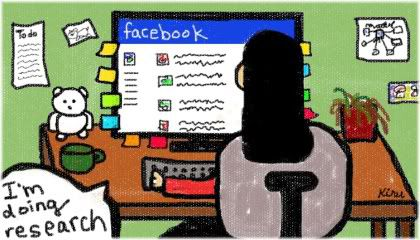 browsing facebook