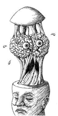 brain monster coming out of head
