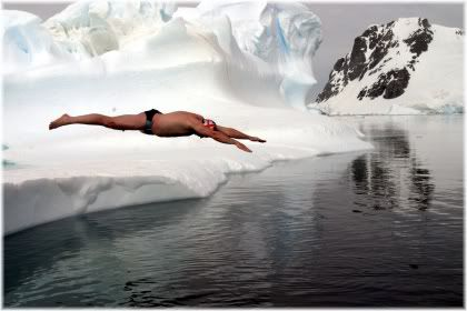 man diving into cold water