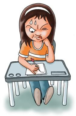 girl taking test