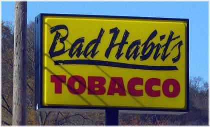 bad habits tobacco sign