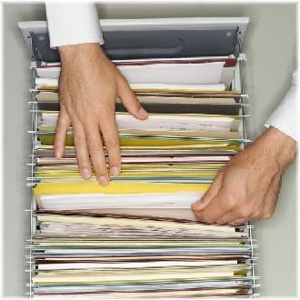 documents in filing cabinet