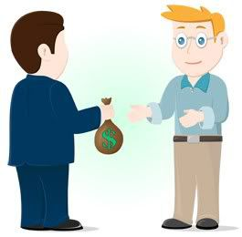 man receiving cash