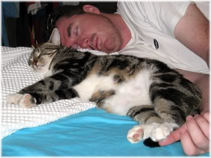 man sleeping with cat