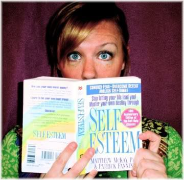 woman reading self esteem book