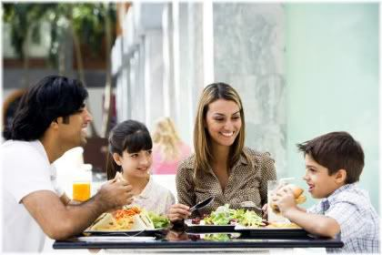 parents eating meal with children