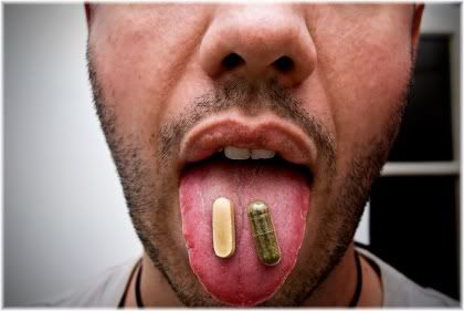vitamin supplements on tongue