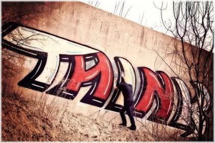 think graffiti on wall