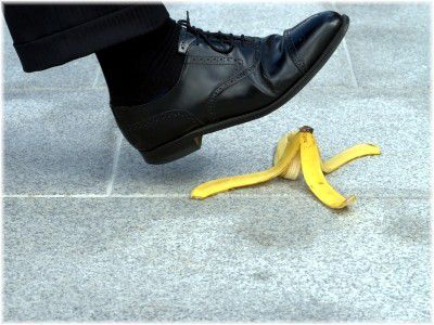 stepping banana peel