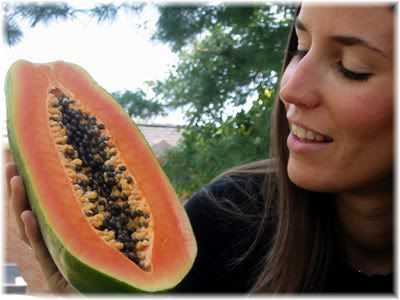 woman with papaya