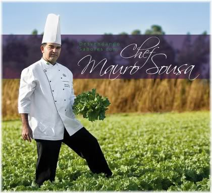 Chef holding lettuce in field
