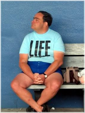 man sitting on bench life t-shirt