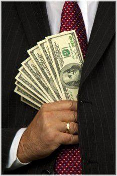 putting money in pocket