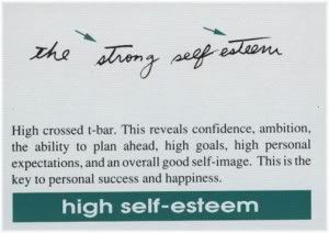 high self esteem handwriting