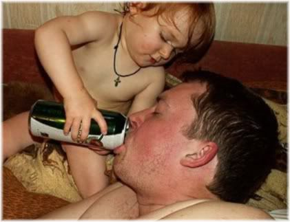 child holding beer for father