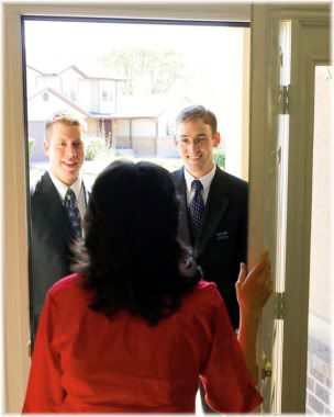 woman opening door to salespeople