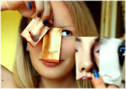 woman selecting nose
