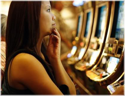 woman on slot machine