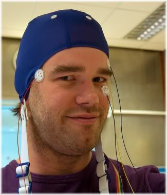man EEG on head