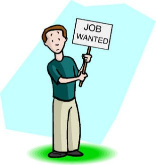 man holding job wanted sign