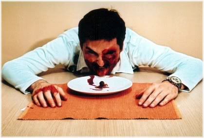 man with bloody face on plate