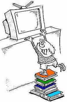 boy climbing books to reach tv