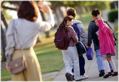 parent sending kids to school