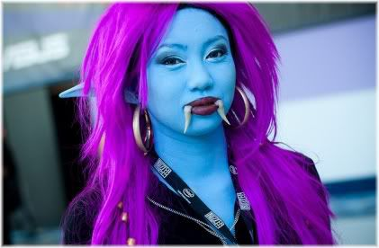 woman blue skin pink hair costume