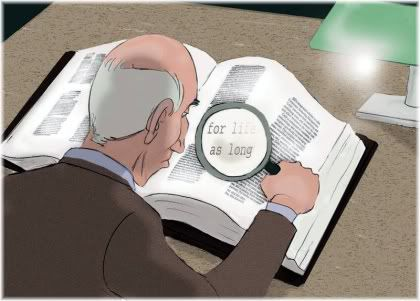 man looking at book with magnifying glass