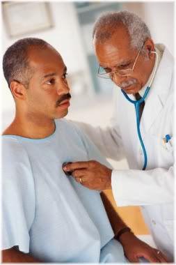 doctor listening to patient heart